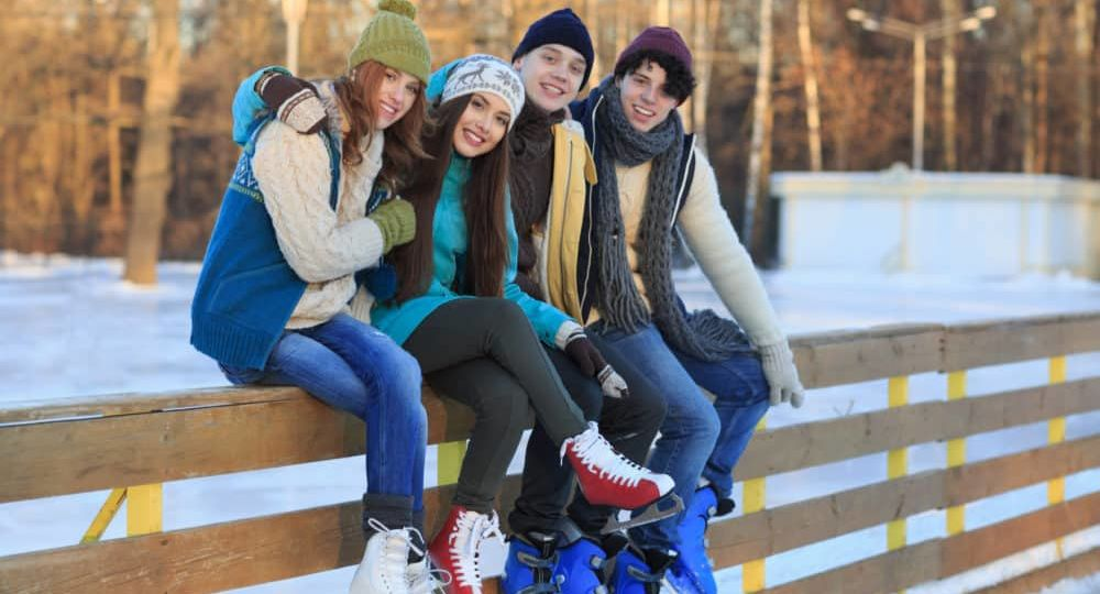 Foreign exchange students ice skating