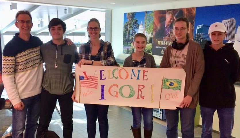 Host family welcoming Igor to America