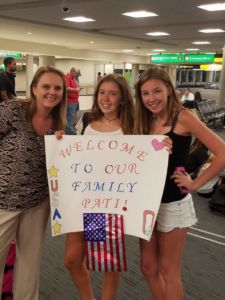 International exchange student arriving at airport