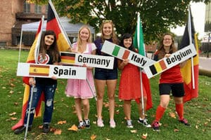 Exchange students from Spain, Germany, Italy and Belguim