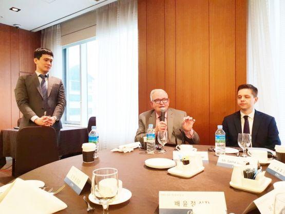 CEO Wayne Brewer speaking at an international partners meeting
